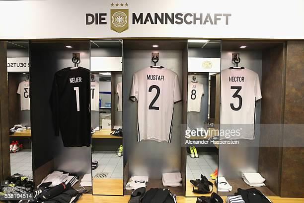 Manuel Neuer`s Shkodran Mustafi`s and Jonas Hector`s match jersey seen at the dressing room of team Germany prior to the international friendly match...