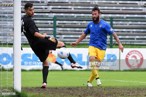 Manuel Nocciolini of Parma Calcio of Parma Calcio scores his first goal during the preseason friendly match between Parma Calcio and Dro on July 30...
