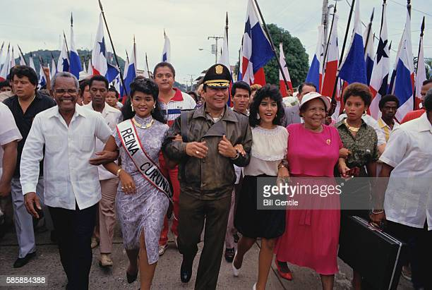 Manuel Noriega with Rally Supporters