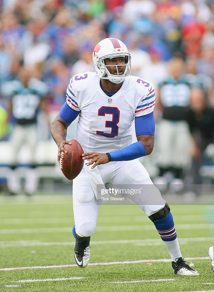 EJ Manuel #3 of the Buffalo Bills looks to throw against the Carolina Panthers at Ralph Wilson Stadium on September 15, 2013 in Orchard Park, New York. Buffalo won 24-23.