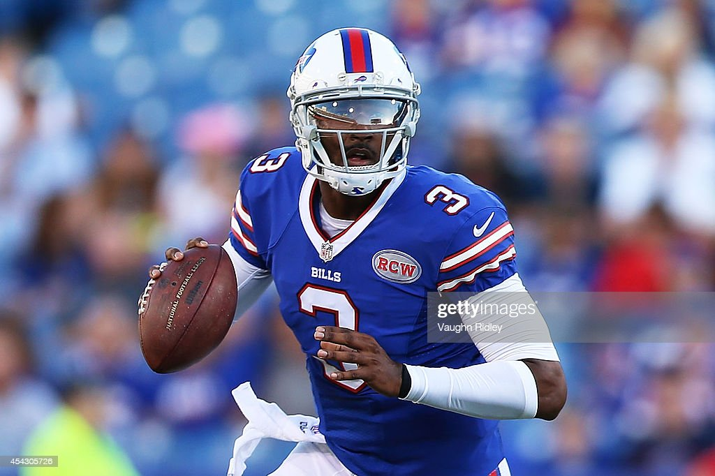 EJ Manuel #3 of the Buffalo Bills looks to throw against the Detroit Lions during the first half of a preseason game at Ralph Wilson Stadium on August 28, 2014 in Orchard Park, New York.