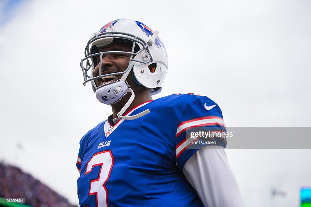 EJ Manuel #3 of the Buffalo Bills runs in a touchdown during the first half against the Cincinnati Bengals on October 18, 2015 at Ralph Wilson Stadium in Orchard Park, New York.
