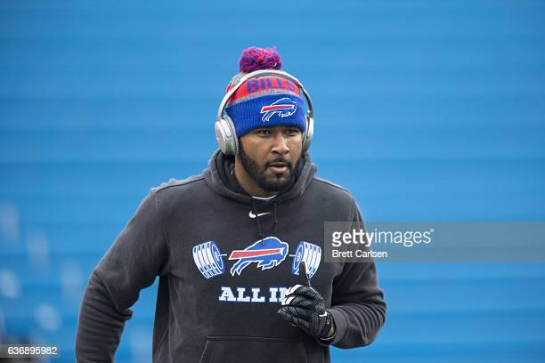 Manuel of the Buffalo Bills warms up before the game against the Miami Dolphins on December 24 2016 at New Era Field in Orchard Park New York Miami...