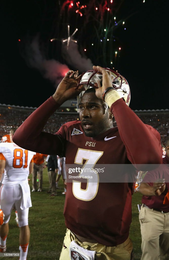 EJ Manuel #3 of the Florida State Seminoles celebrates after defeating the Clemson Tigers 49-37 at Doak Campbell Stadium on September 22, 2012 in Tallahassee, Florida.