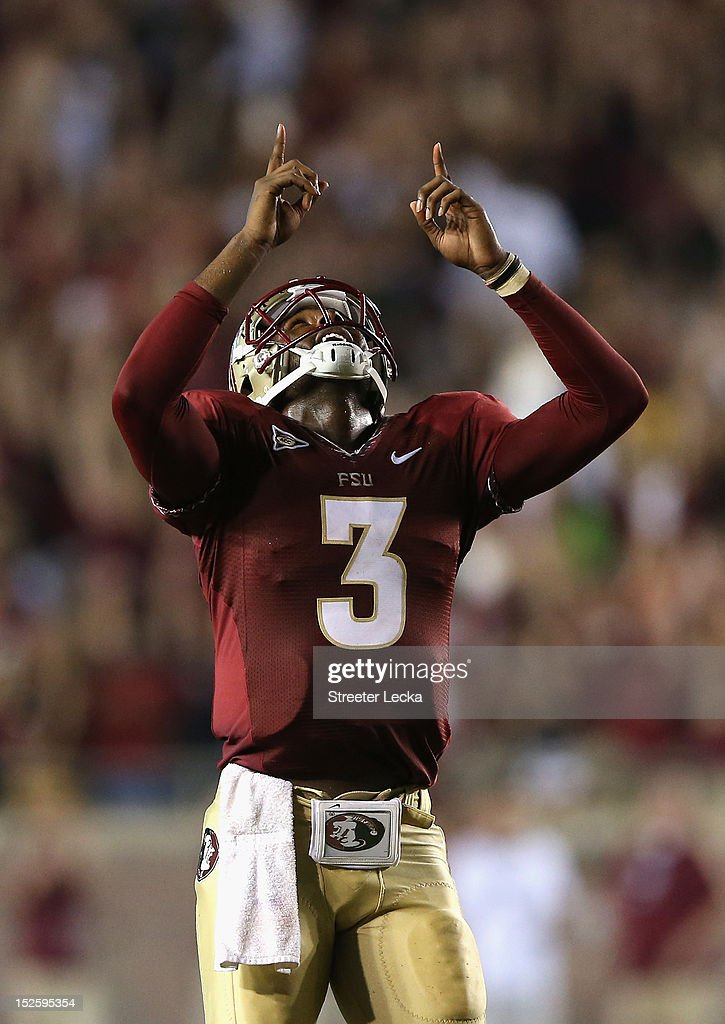 EJ Manuel #3 of the Florida State Seminoles celebrates after his teammate runs for a touchdown during their game against the Clemson Tigers at Doak Campbell Stadium on September 22, 2012 in Tallahassee, Florida.