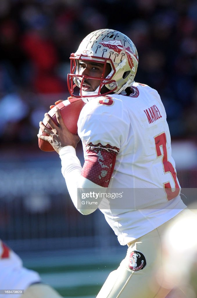 E.J. Manuel #3 of the Florida State Seminoles drops back to pass against the Maryland Terrapins at Byrd Stadium on November 17, 2012 in College Park, Maryland.