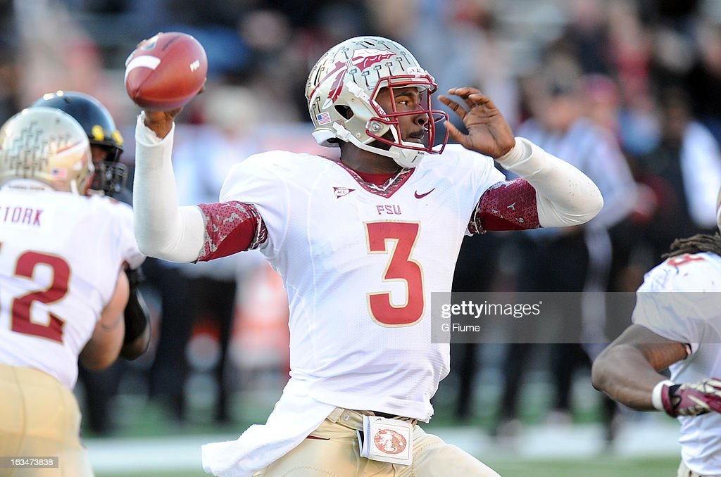 E.J. Manuel #3 of the Florida State Seminoles throws a pass against the Maryland Terrapins at Byrd Stadium on November 17, 2012 in College Park, Maryland.