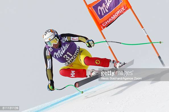 Manuel OsborneParadis of Canada competes during the Audi FIS Alpine Ski World Cup Men's Downhill Training on February 18 2016 in Chamonix France