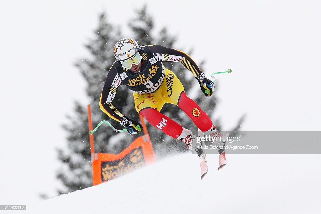 Manuel OsborneParadis of Canada competes during the Audi FIS Alpine Ski World Cup Men's Downhill on February 20 2016 in Chamonix France