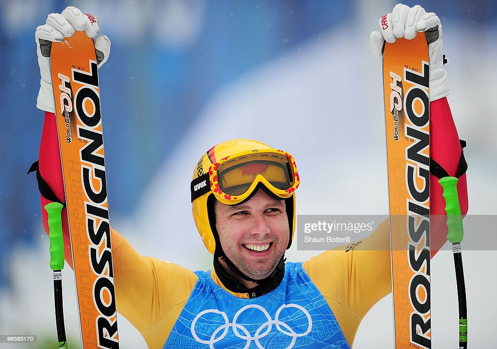 Manuel OsborneParadis of Canada competes in the men's alpine skiing downhill practice held at Whistler Creekside ahead of the Vancouver 2010 Winter...
