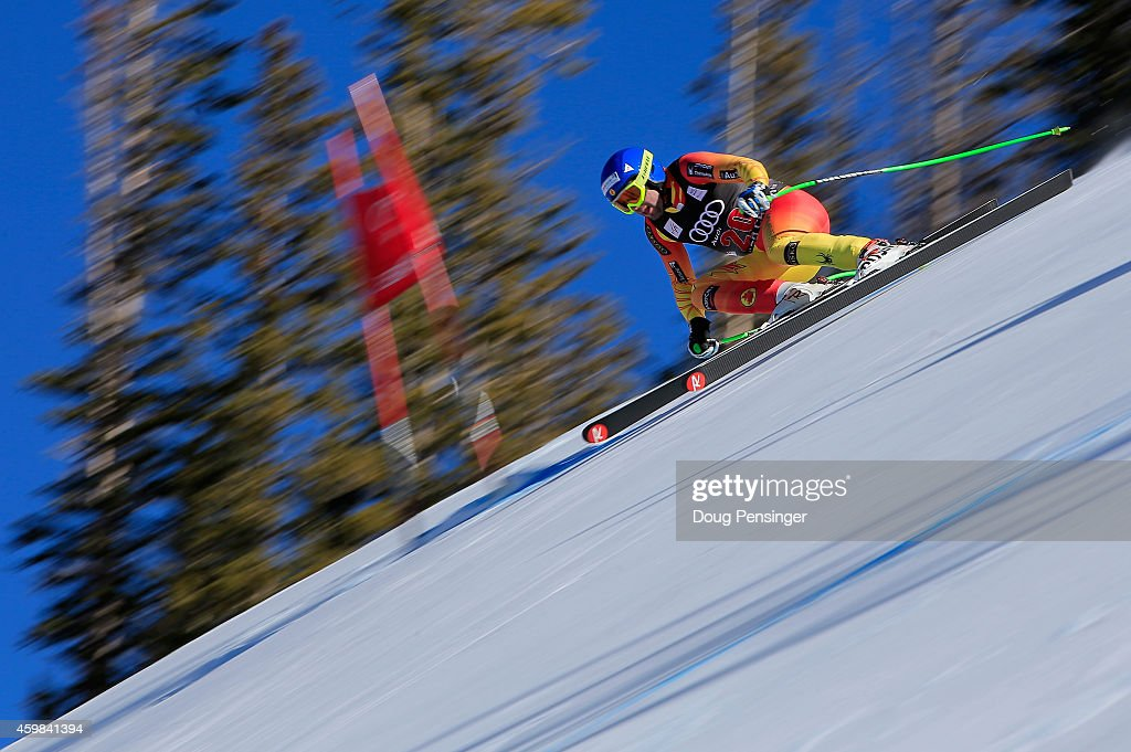 Manuel OsborneParadis of Canada descends the course during men's downhill training for the Audi FIS World Cup on the Birds of Prey on December 2 2014...