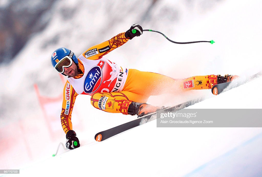 Manuel OsborneParadis of Canada during the Audi FIS Alpine Ski World Cup Men's 2nd Downhill training on January 14 2010 in Wengen Switzerland