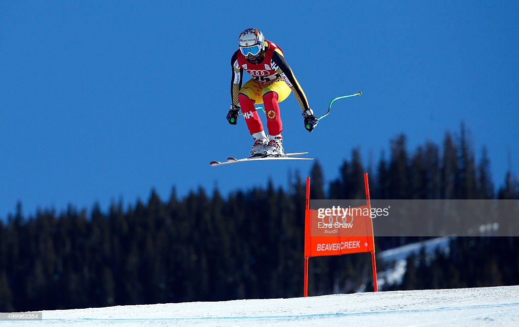 Manuel OsborneParadis of Canada goes over the Red Tail jump during the Audi FIS Ski World Cup downhill race on the Birds of Prey on December 4 2015...