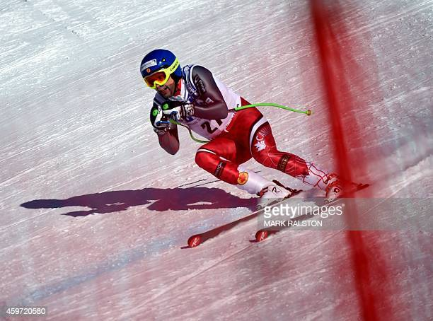 Manuel OsborneParadis of Canada heads for the finish line before finishing second in the Men's Downhill race during the Alpine Skiing FIS World Cup...