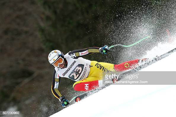 Manuel OsborneParadis of Canada in action during the Audi FIS Alpine Ski World Cup Men's Downhill Training on January 28 2016 in...