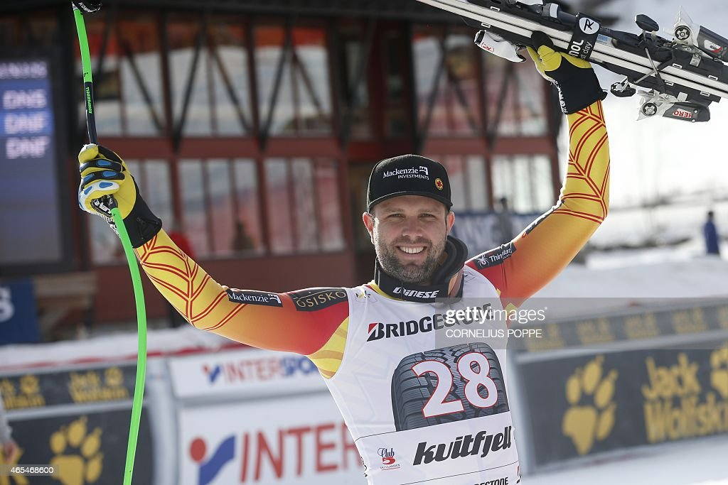 Manuel OsborneParadis of Canada jubilates after he finished second in the men's Alpine Skiing World Cup downhill race in Kvitfjell on March 7 2015...