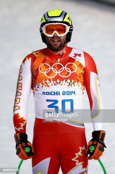 Manuel OsborneParadis of Canada reacts after a run during the Alpine Skiing Men's SuperG on day 9 of the Sochi 2014 Winter Olympics at Rosa Khutor...