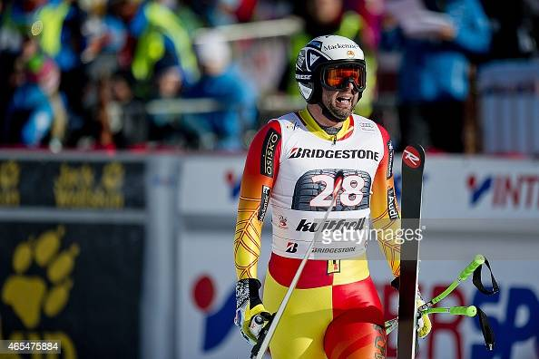 Manuel OsborneParadis of Canada reacts in the finish area after he finished second in the men's Alpine Skiing World Cup downhill race in Kvitfjell...