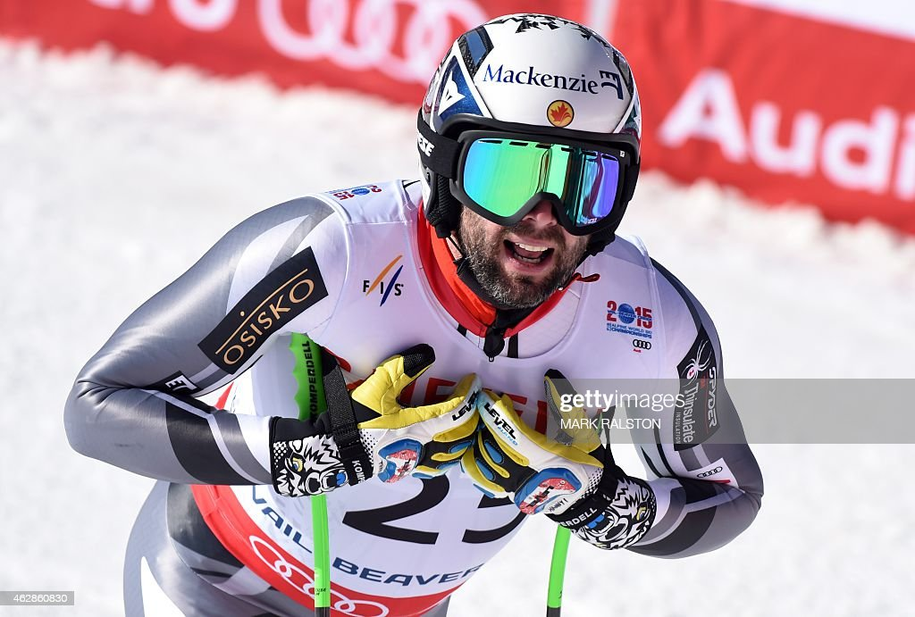 Manuel OsborneParadis of Canada rests in the finish area after criossing the finish line during the 2015 World Alpine Ski Championships men's...