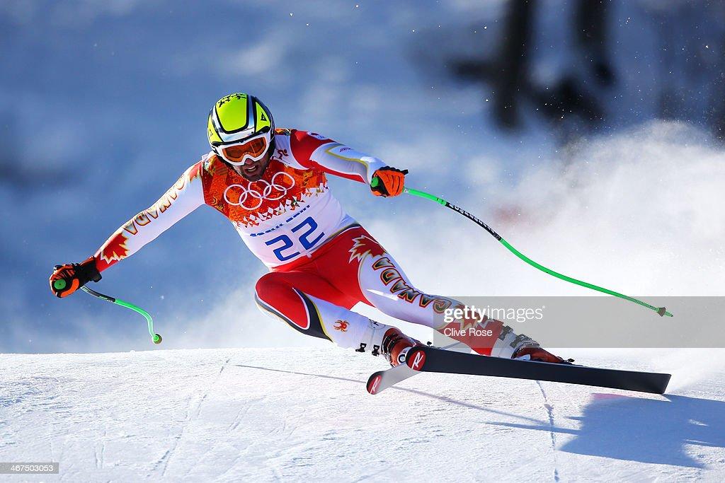 Manuel OsborneParadis of Canada skis during training for the Alpine Skiing Men's Downhill ahead of the Sochi 2014 Winter Olympics at Rosa Khutor...