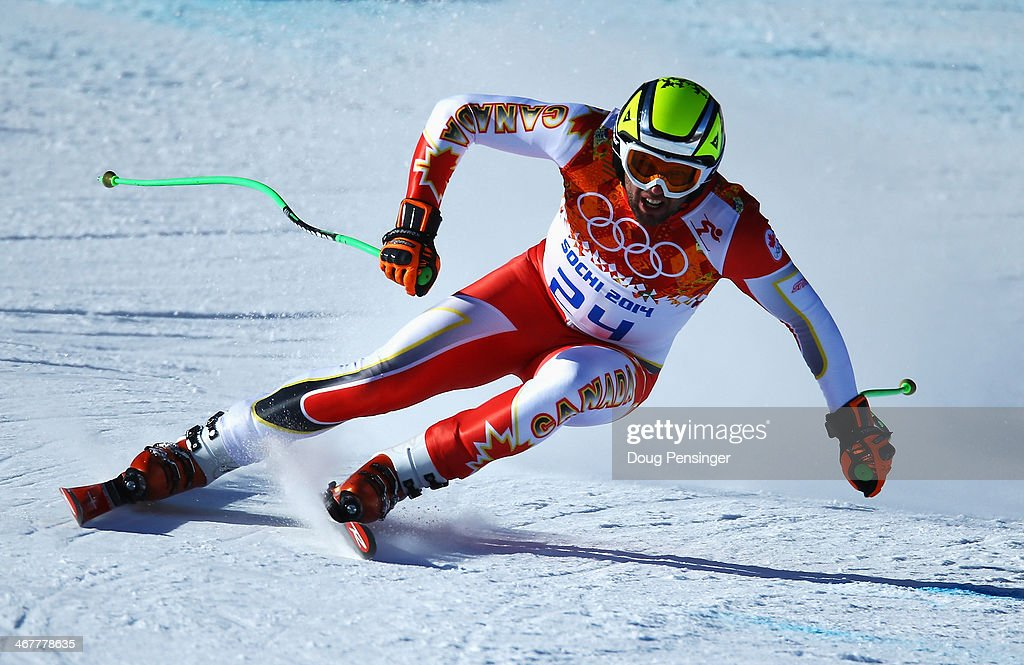 Manuel OsborneParadis of Canada skis during training for the Alpine Skiing Men's Downhill during the Sochi 2014 Winter Olympics at Rosa Khutor Alpine...
