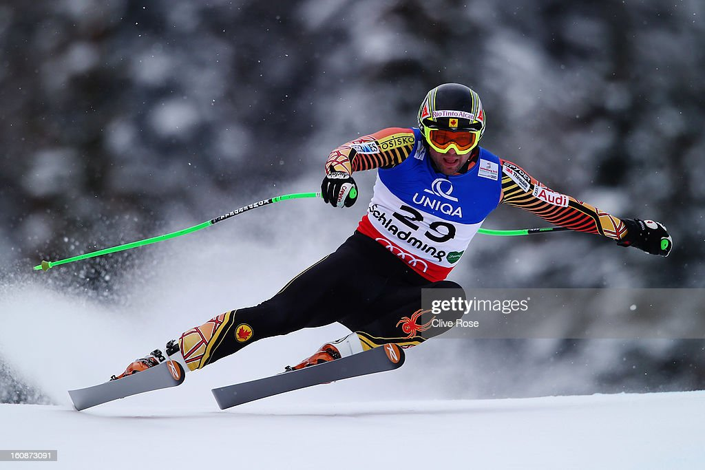 <a gi-track='captionPersonalityLinkClicked' href=/galleries/search?phrase=Manuel+Osborne-Paradis&family=editorial&specificpeople=5402183 ng-click='$event.stopPropagation()'>Manuel Osborne-Paradis</a> of Canada skis in the Men's Downhill Training during the Alpine FIS Ski World Championships on February 7, 2013 in Schladming, Austria.