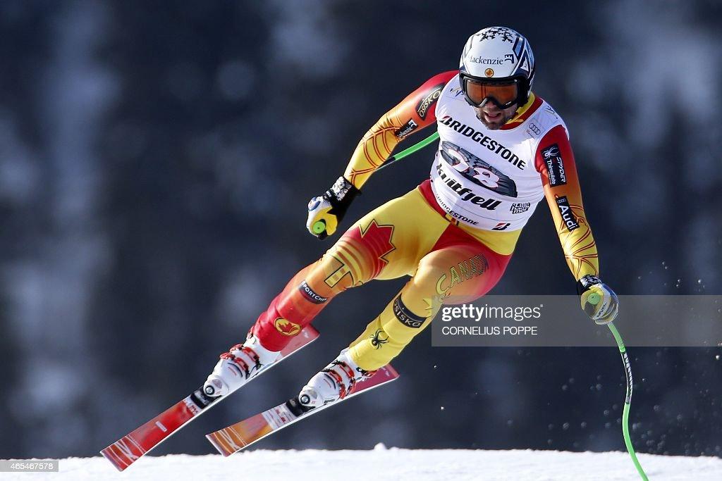Manuel OsborneParadis of Canada speeds down to win the men's Alpine Skiing World Cup downhill race in Kvitfjell on March 7 2015 AFP PHOTO / SCANPIX...