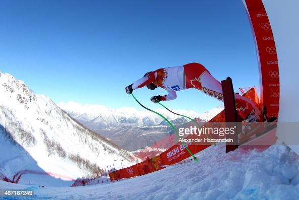 Manuel OsborneParadis of Canada starts a run during training for the Alpine Skiing Men's Downhill ahead of the Sochi 2014 Winter Olympics at Rosa...