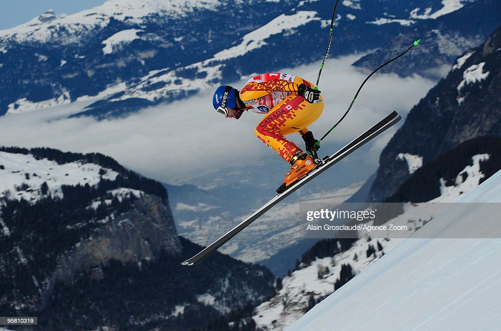 Manuel OsborneParadis of Canada takes 2nd place during the Audi FIS Alpine Ski World Cup Men's Downhill on January 16 2010 in Wengen Switzerland