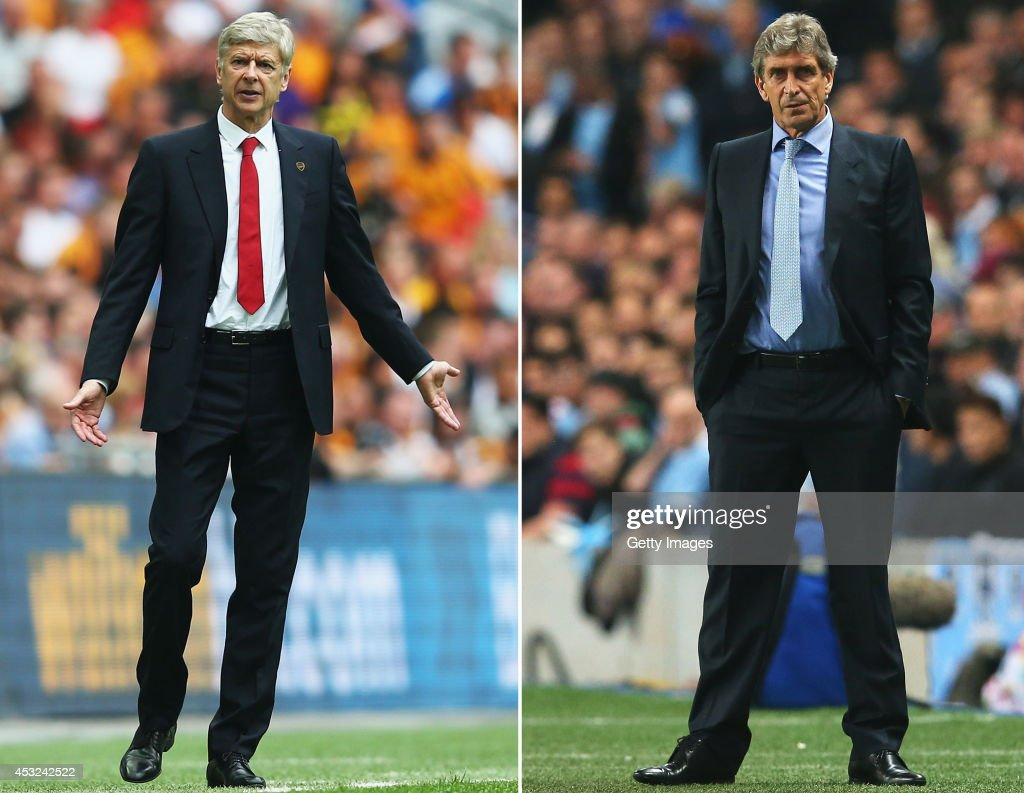 IMAGES - Image numbers (L) 491737577 and 182933633) In this composite image a comparision has been made between <a gi-track='captionPersonalityLinkClicked' href=/galleries/search?phrase=Arsene+Wenger&family=editorial&specificpeople=171184 ng-click='$event.stopPropagation()'>Arsene Wenger</a>, Manager of Arsenal (L) and <a gi-track='captionPersonalityLinkClicked' href=/galleries/search?phrase=Manuel+Pellegrini&family=editorial&specificpeople=673553 ng-click='$event.stopPropagation()'>Manuel Pellegrini</a>, Manager of Manchester City. Manchester City and Arsenal play in the FA Community Shield at Wembley Stadium on August 10,2014 in London,England. MANCHESTER, ENGLAND - OCTOBER 02: <a gi-track='captionPersonalityLinkClicked' href=/galleries/search?phrase=Manuel+Pellegrini&family=editorial&specificpeople=673553 ng-click='$event.stopPropagation()'>Manuel Pellegrini</a>, coach of Manchester City looks on during the UEFA Champions League Group D match between Manchester City and FC Bayern Muenchen at Etihad Stadium on October 2, 2013 in Manchester, England.