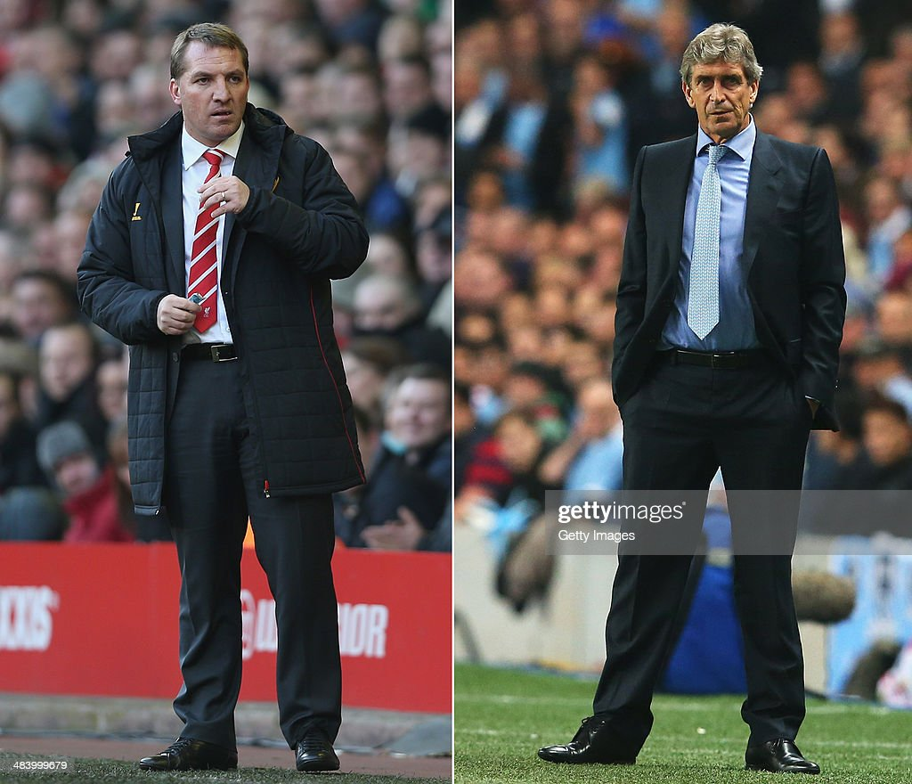 IMAGES - Image Numbers 161859127 (L) and 182933633) In this composite image a comparison has been made between <a gi-track='captionPersonalityLinkClicked' href=/galleries/search?phrase=Brendan+Rodgers+-+Soccer+Manager&family=editorial&specificpeople=5446684 ng-click='$event.stopPropagation()'>Brendan Rodgers</a> ,manager of Liverpool (L) and <a gi-track='captionPersonalityLinkClicked' href=/galleries/search?phrase=Manuel+Pellegrini&family=editorial&specificpeople=673553 ng-click='$event.stopPropagation()'>Manuel Pellegrini</a>, manager of Manchester City. Liverpool and Manchester City meet for a league match on April 13, 2014 at Anfield, Liverpool. <a gi-track='captionPersonalityLinkClicked' href=/galleries/search?phrase=Manuel+Pellegrini&family=editorial&specificpeople=673553 ng-click='$event.stopPropagation()'>Manuel Pellegrini</a>, coach of Manchester City looks on during the UEFA Champions League Group D match between Manchester City and FC Bayern Muenchen at Etihad Stadium on October 2, 2013 in Manchester, England.
