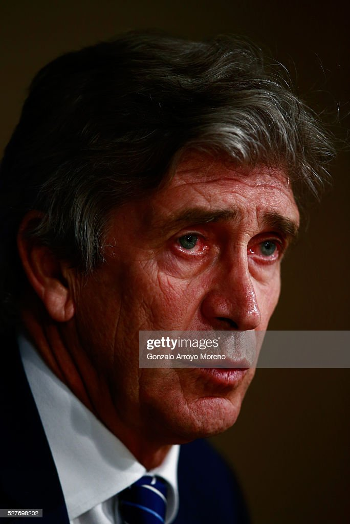 Manuel Pellegrini, Manager of Manchester City faces the media during a press conference ahead of the UEFA Champions League Semi Final second leg match between Real Madrid and Manchester City FC at Estadio Santiago Bernabeu on May 3, 2016 in Madrid, Spain.