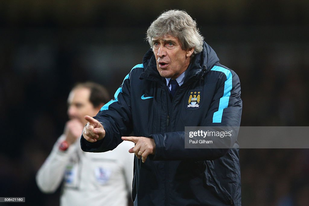 <a gi-track='captionPersonalityLinkClicked' href=/galleries/search?phrase=Manuel+Pellegrini&family=editorial&specificpeople=673553 ng-click='$event.stopPropagation()'>Manuel Pellegrini</a>, manager of Manchester City gestures during the Barclays Premier League match between West Ham United and Manchester City at the Boleyn Ground on January 23, 2016 in London, England.