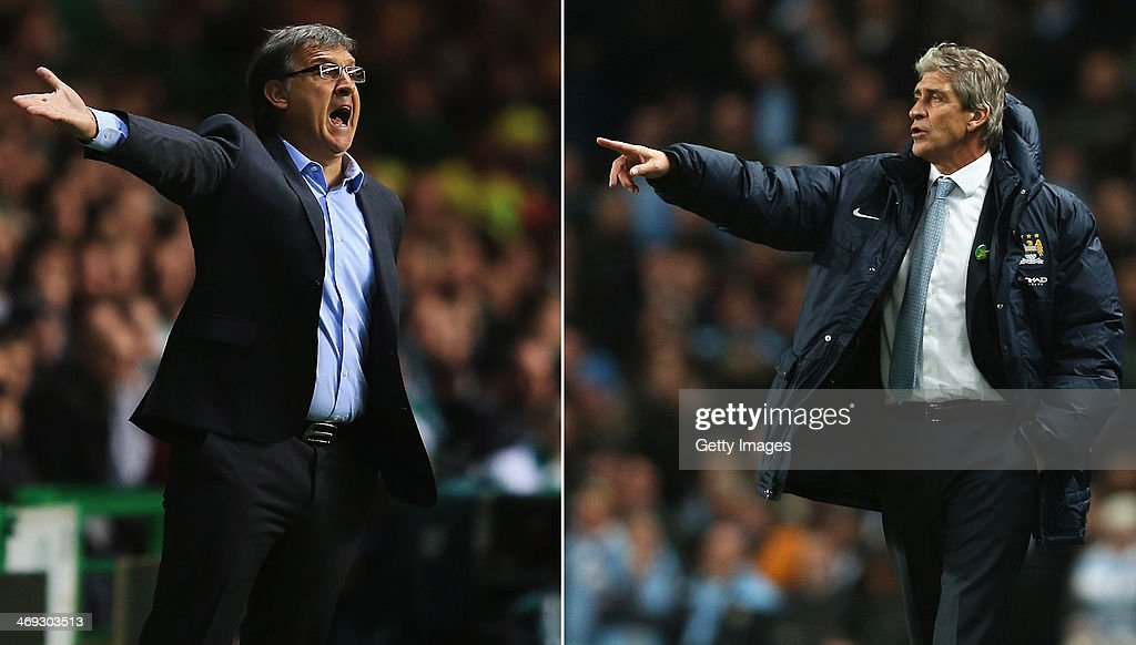 IMAGES - Image Numbers 182604225 (L) and 452759707) In this composite image a comparison has been made between Head coach <a gi-track='captionPersonalityLinkClicked' href=/galleries/search?phrase=Gerardo+Martino&family=editorial&specificpeople=4362047 ng-click='$event.stopPropagation()'>Gerardo Martino</a> of FC Barcelona (L) and Manchester City manager <a gi-track='captionPersonalityLinkClicked' href=/galleries/search?phrase=Manuel+Pellegrini&family=editorial&specificpeople=673553 ng-click='$event.stopPropagation()'>Manuel Pellegrini</a> . Manchester City and Barcelona meet in the UEFA Champions League Round of 16 match 1st leg on February 18,2014 with the 2nd leg on March 12 ,2014. MANCHESTER, ENGLAND - DECEMBER 01: <a gi-track='captionPersonalityLinkClicked' href=/galleries/search?phrase=Manuel+Pellegrini&family=editorial&specificpeople=673553 ng-click='$event.stopPropagation()'>Manuel Pellegrini</a>, manager of Manchester City gives instructions during the Barclays Premier League match between Manchester City and Swansea City at Etihad Stadium on December 1, 2013 in Manchester, England.