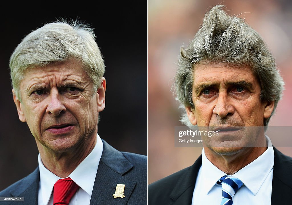 IMAGES - Image numbers (L) 185913896 and 487084963) In this composite image a comparision has been made between <a gi-track='captionPersonalityLinkClicked' href=/galleries/search?phrase=Arsene+Wenger&family=editorial&specificpeople=171184 ng-click='$event.stopPropagation()'>Arsene Wenger</a>, Manager of Arsenal (L) and <a gi-track='captionPersonalityLinkClicked' href=/galleries/search?phrase=Manuel+Pellegrini&family=editorial&specificpeople=673553 ng-click='$event.stopPropagation()'>Manuel Pellegrini</a>, Manager of Manchester City. Manchester City and Arsenal play in the FA Community Shield at Wembley Stadium on August 10,2014 in London,England. LONDON, ENGLAND - APRIL 27: <a gi-track='captionPersonalityLinkClicked' href=/galleries/search?phrase=Manuel+Pellegrini&family=editorial&specificpeople=673553 ng-click='$event.stopPropagation()'>Manuel Pellegrini</a>, manager of Manchester City looks on during the Barclays Premier League match between Crystal Palace and Manchester City at Selhurst Park on April 27, 2014 in London, England.