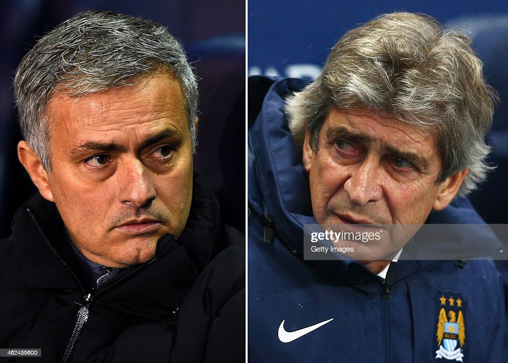 IMAGES - Image numbers (L) 460957880 and 460953432) In this composite image a comparision has been made between Jose Mourinho, Manager of Chelsea (L) and <a gi-track='captionPersonalityLinkClicked' href=/galleries/search?phrase=Manuel+Pellegrini&family=editorial&specificpeople=673553 ng-click='$event.stopPropagation()'>Manuel Pellegrini</a>,Manager of Manchester City (R). Chelsea meet Manchester City in a Premier League match on January 31, 2015 at Stamford Bridge,London. **LEFT IMAGE** LONDON, ENGLAND - JANUARY 01: Jose Mourinho manager of Chelsea looks on before the Barclays Premier League match between Tottenham Hotspur and Chelsea at White Hart Lane on January 1, 2015 in London, England. (Photo by Michael Regan/Getty Images) **RIGHT IMAGE** MANCHESTER, ENGLAND - JANUARY 01: <a gi-track='captionPersonalityLinkClicked' href=/galleries/search?phrase=Manuel+Pellegrini&family=editorial&specificpeople=673553 ng-click='$event.stopPropagation()'>Manuel Pellegrini</a>, manager of Manchester City looks on prior to the Barclays Premier League match between Manchester City and Sunderland at Etihad Stadium on January 1, 2015 in Manchester, England.