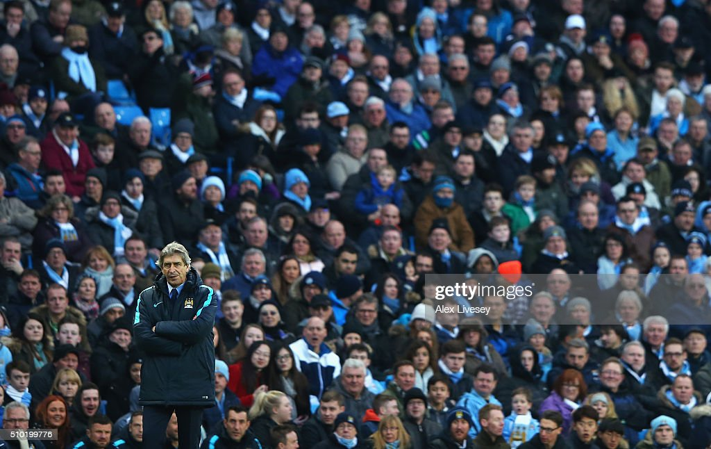 <a gi-track='captionPersonalityLinkClicked' href=/galleries/search?phrase=Manuel+Pellegrini&family=editorial&specificpeople=673553 ng-click='$event.stopPropagation()'>Manuel Pellegrini</a>, Manager of Manchester City looks on with fans during the Barclays Premier League match between Manchester City and Tottenham Hotspur at Etihad Stadium on February 14, 2016 in Manchester, England.