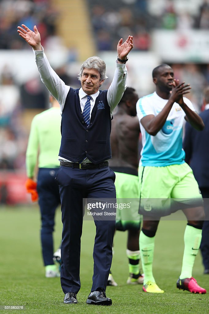 Manuel Pellegrini, manager of Manchester City waves to fans after the Barclays Premier League match between Swansea City and Manchester City at the Liberty Stadium on May 15, 2016 in Swansea, Wales.