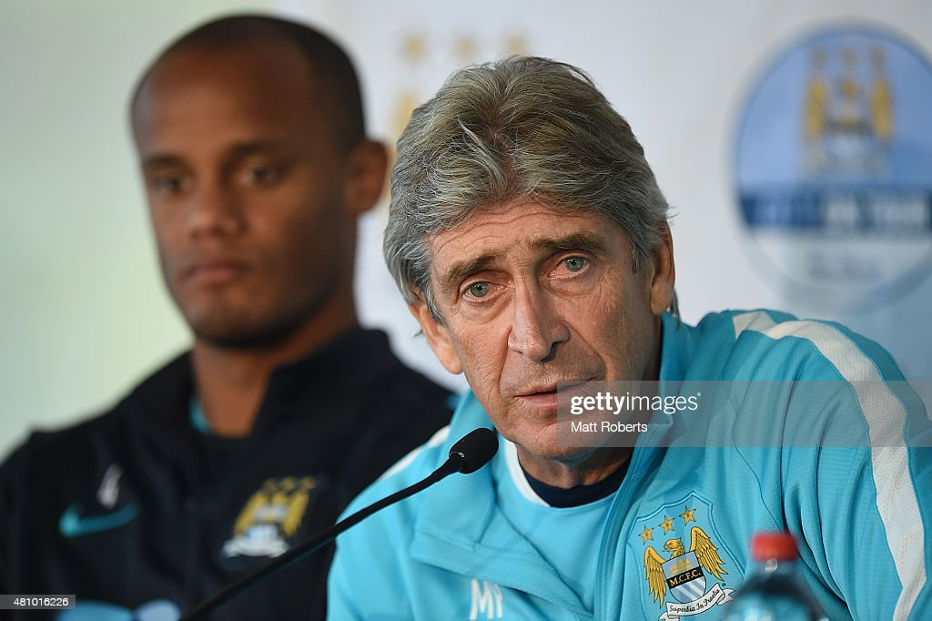 <a gi-track='captionPersonalityLinkClicked' href=/galleries/search?phrase=Manuel+Pellegrini&family=editorial&specificpeople=673553 ng-click='$event.stopPropagation()'>Manuel Pellegrini</a> speaks during a press conference on July 17, 2015 on the Gold Coast, Australia.