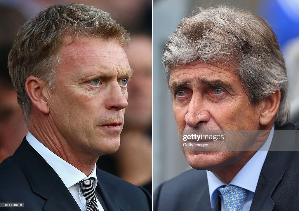 IMAGES - Image Numbers (left) 177990999 and 178918611) In this composite image a comparison has been made between David Moyes (L) , Manager of Manchester United and Manuel Pellegrini,Manager of Manchester City. Manchester City and Manchester United meet for the first Manchester Derby of the season on September 22, 2013 at the Etihad Stadium, Manchester. MANCHESTER, ENGLAND - AUGUST 31: Manuel Pellegrini the manager of Manchester City looks on during the Barclays Premier League match between Manchester City and Hull City at the Etihad Stadium on August 31, 2013 in Manchester, England.