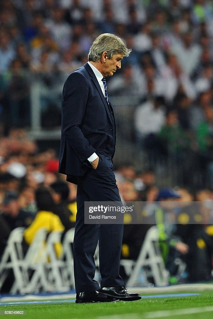 Manuel Pellegrini the manager of Manchester City looks on during the UEFA Champions League semi final, second leg match between Real Madrid and Manchester City FC at Estadio Santiago Bernabeu on May 4, 2016 in Madrid, Spain.