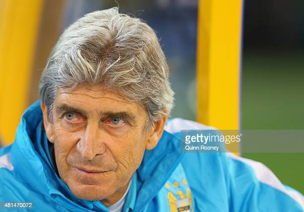 Manuel Pellegrini the Manchester City Manager looks on during the International Champions Cup friendly match between Manchester City and AS Roma at...