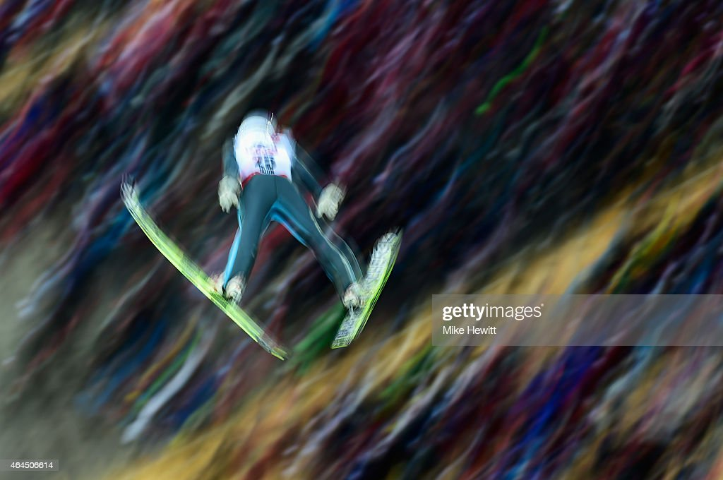 Manuel Poppinger of Austria competes during the Men's HS134 Large Hill Ski Jumping trial during the FIS Nordic World Ski Championships at the Lugnet...