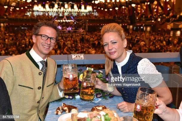 Manuel Prinz von Bayern and his wife Anna Prinzessin von Bayern during the opening of the 2017 Oktoberfest beer festival in the Schottenhamel beer...