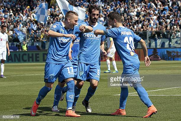 Manuel Pucciarelli and Piotr Zielinski of Empoli FC celebrates after scoring a goal during the Serie A match between Empoli FC and ACF Fiorentina at...