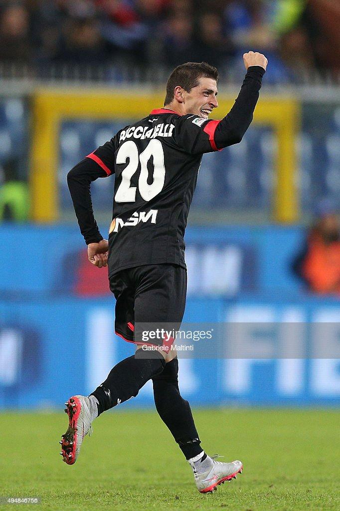 Manuel Pucciarelli of Empoli FC celebrates after scoring a goal during the Serie A match between UC Sampdoria and Empoli FC at Stadio Luigi Ferraris...