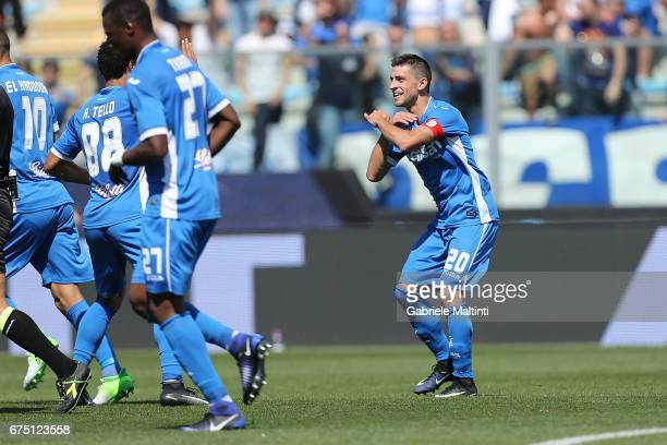 Manuel Pucciarelli of Empoli FC celebrates after scoring a goal during the Serie A match between Empoli FC and US Sassuolo at Stadio Carlo Castellani...