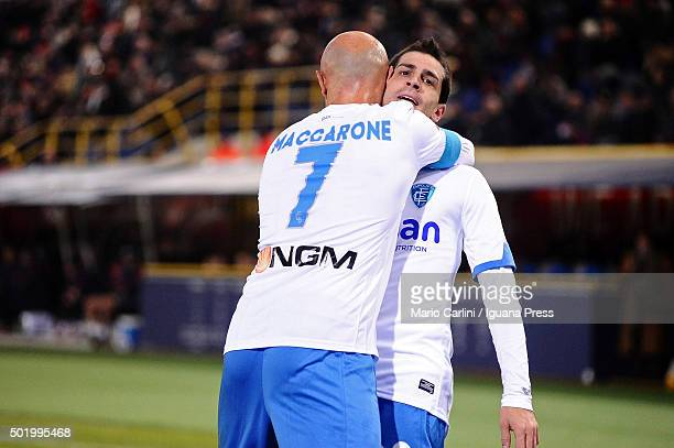 Manuel Pucciarelli of Empoli FC celebrates after scoring the opening goal during the Serie A match between Bologna FC and Empoli FC at Stadio Renato...