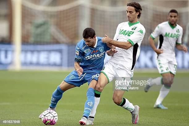 Manuel Pucciarelli of Empoli FC in action against Simone Missiroli of US Sassuolo Calcio during the Serie A match between Empoli FC and US Sassuolo...