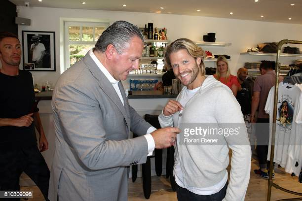 Manuel Rivera and Paul Janke attend a store event on July 7 2017 in Sylt Germany